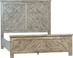 Zurich Bed Queen Antique Gray Reclaimed Acacia Inlaid