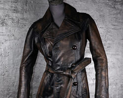 Diesel Leather Jacket Coat Distressed Paint Brown Black Double Breasted Xs S 36