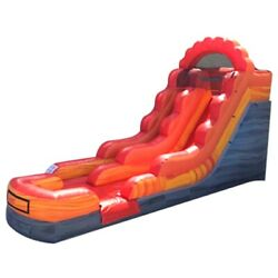 Commercial Inflatable Water Slide Bouncer 13ft Red Marble Kids Slide With Blower