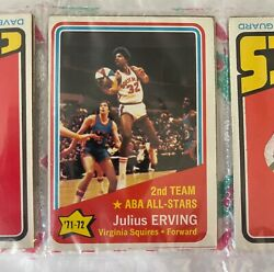 1972-73 Topps Basketball Pack Holiday - Julius Erving Rookie As Showing 12 Cards