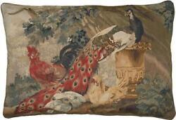 Aubusson Throw Pillow 27x40 Peacock Rooster Handwoven Wool