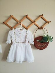 VINTAGE kids white laced dress. ribbons and lace brand. size 3T KIDS