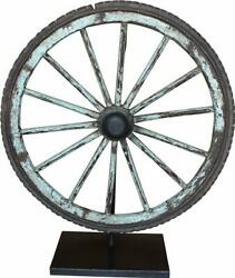 Old Wagon Wheel Sculpture Stained Waxed Iron Wood Bronze Reclaimed