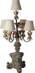 Table Lamp Transitional 5-light Gold Distressed Antique Brown Wood Hiros