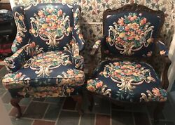 Pair Of Antique / Vintage Wood Framed Upholstered Chairs Queen And Carved