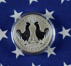 Gsm 2017 Year Of The Rooster Uncirculated 1oz Troy .999 Fine Silver Coin Usa R1