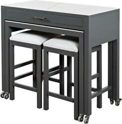 Sarreid Kitchen Island With Table And Stools Stool Traditional Antique Gray