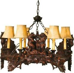Chandelier Dancing Bear 6-light Hand-cast Made In Usa Ok Casting Faux Le
