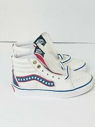Sk8 Hi Leather Skate Shoes Evil Knievel True White Racing Red Kids 13