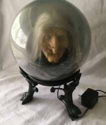 """Gemmy Retired Spirit Ball Animated Talking Witch 14"""" On Stand Euc"""