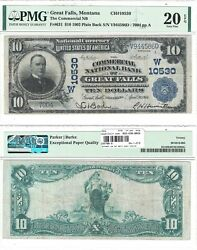 1902 10 Commercial National Bank Of Great Falls, Mt 10530 Pmg Very Fine-20 Epq