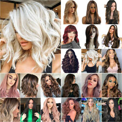 Women Real Natural Wavy Curly/straight Hair Wigs Cosplay Party Full Wigs Fashion