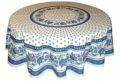 LE CLUNY LISA WHITE amp; BLUE FRENCH PROVENCE COATED COTTON TABLECLOTH 70quot; ROUND