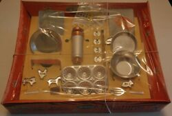 Vintage Child Toy Boxed 20 Pc Mirro Miniatures Cookware Baking Cookie Press Set