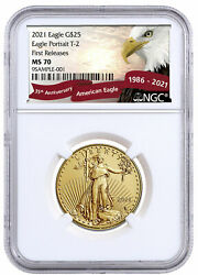 2021 1/2 Oz Gold American Eagle Type 2 25 Ngc Ms70 Fr Eagle Red Banner Delay