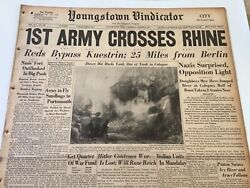 Display Newspaper Wwii 1945 1st Army Crosses The Rhine Patton Swims Icy River