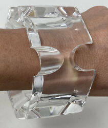 Vintage Runway Mid Century Massive Huge Chunky Clear Heavy Lucite Cuff Bracelet