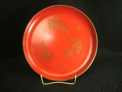 Antique Japanese Red And Black Wood Lacquer Kashizara Plate Floral Makie 7