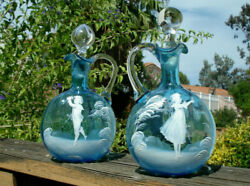 Antique Pair Of Hand-blown Mary Gregory Blue Glass Decanter/cruets.sold As 1 Lot