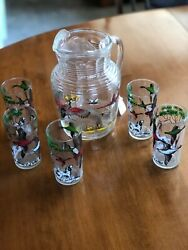 Vintage 1950's Atlas Glass Pheasant Hunting Barware Pitcher And 5 Glasses