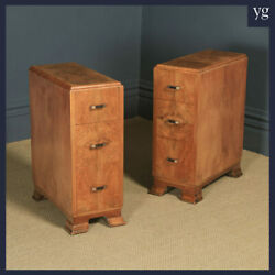 Antique Pair Art Deco Figured Walnut Bedside Cabinet Chests Tables Nightstands