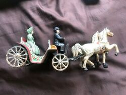 Antique Cast Iron Toy Horse Carriage, With Passenger, C1910