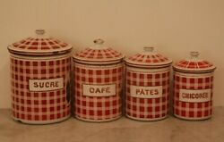 Red Checkered French Canister Set Bb Antique Enamel Ware Graniteware