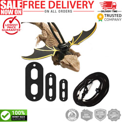 3 Pack Adjustable Bearded Dragon Harness Lizard Leash with Cool Wings for Lizard