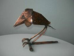 Beautifull Small Rare Vintage Crow On A Branch Copper Germany Hand Made Used