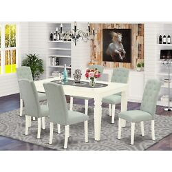 East West Furniture Wece7-whi-15 7pc Dinette Set Includes A Rectangular Kitchen