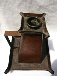 Rare Fine Antique Arts And Crafts Period Tall Hammered Copper Candle Holder 227