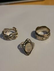 3 X Sterling Silver Plain Rings All Hallmarked Various Sizes 17.8g