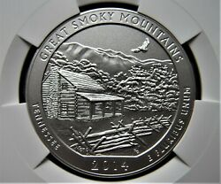 2014 P Great Smoky Mountains Atb 5 Oz Silver Coin Ngc Sp70 Early Releases