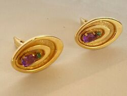 Magnificent French 14k Yellow Gold Emerald Amethyst Pair Of Cufflinks Signed