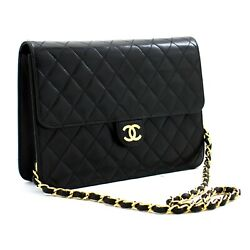 C06andnbsp Authentic Chain Shoulder Bag Clutch Black Quilted Flap Lambskin Purse