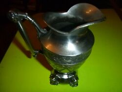 Simpson Hall Miller And Co Silver Plate Art Nouveau Butterfly Floral Bird Pitcher.