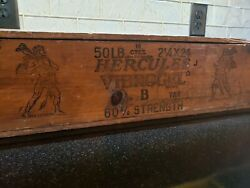 Antique Hercules Powder Crate Box Dovetail Dynamite Explosive With Lid