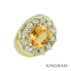 18k Yellow Gold Pt900 Imperial Topaz Diamond 53 Cleaned Ring From Japan