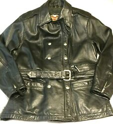 Rare Womenand039s Harley Davidson Xl Motorcycle Jacket Black Leather Full Zip Belted