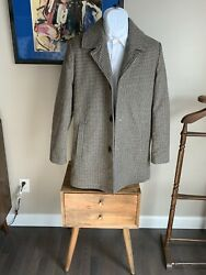 Mens Kenneth Cole Plaid Wool Coat Size Small Fitted