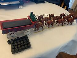 Vintage Cast Iron Beer Wagon 8 Clydesdale Horses 2 Drivers And 31 Kegs Budweiser