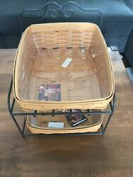 Longaberger Classic Tapered Paper Tray Basket W/ Protectors Wrought Iron Stand