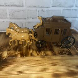 Vintage1950's Hdpe7665 Roy Rogers Stagecoach Plastic Two Horses And Man Pristine