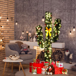 5ft Pre-lit Artificial Cactus Christmas Tree W/led Lights And Ball Ornaments