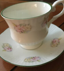 Vintage Staffordshire Cup Saucer Mini Floral Daisies Bone China England As Is