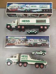 Vintage 1991/92 Hess Toy Trucks 18 Wheeler And Racer And Toy Truck And Racer W/ Box