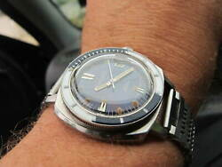 Vintage Swiss Mediator Baby 200 M Diver Watch 40 Mm All S/s Circa 1970s