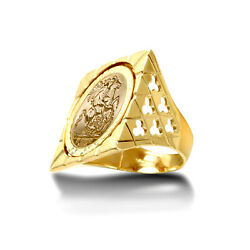 Jewelco London 9ct Gold Clubs Clovers Square Top St George Ring Full Sov Size