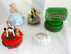 5 Music Boxes Vintage Collection Trolley Sf Violin Windmill Pottery Japan Box