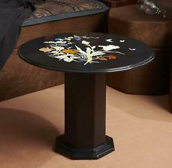 30'' Black Marble Table Top Coffee Center Pietra Dura Inlay Antique With Stand 1
